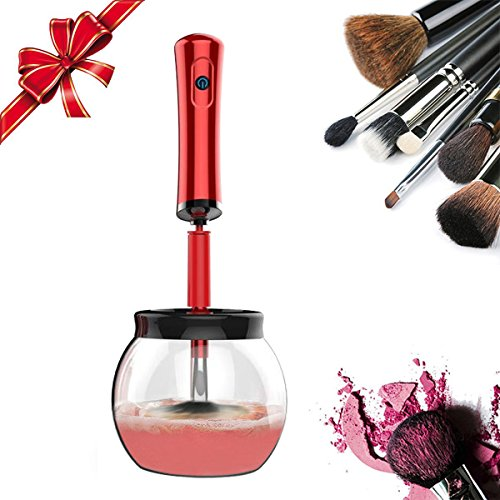 Makeup Brush Cleaner Automatic Spin Brush Cleaner and Dryer Teapot Cleaning Tool (Red)