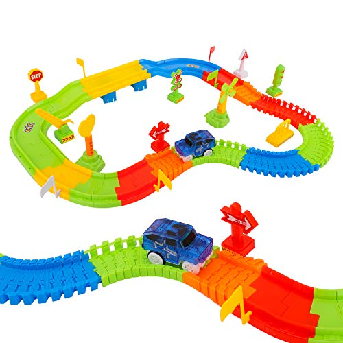 Track Train Toys, [81 PCS] Electric Car Tracks Railway Assembly Play Set with Flexible RC Speedway Railroad and Racing Cars Vehicles for Children's Halloween Toys, Colorful ()
