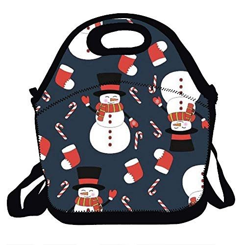 Amuseds Snowman wearing a scarf Reusable Lunch Bags Boxes For Men Women Adults Kids Toddler Nurses With Adjustable Shoulder Strap - Best Travel Bag