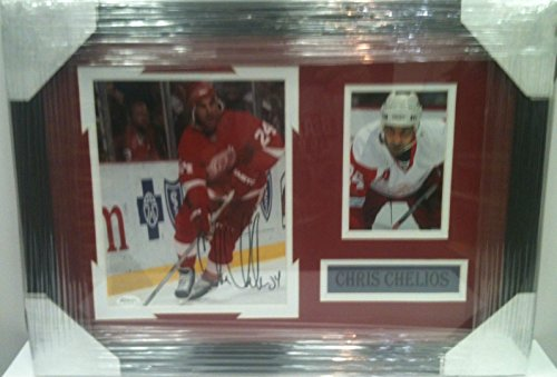 Framed Signed Detroit Redwings Chris Chelios 8x10 Photo collage JSA SOA