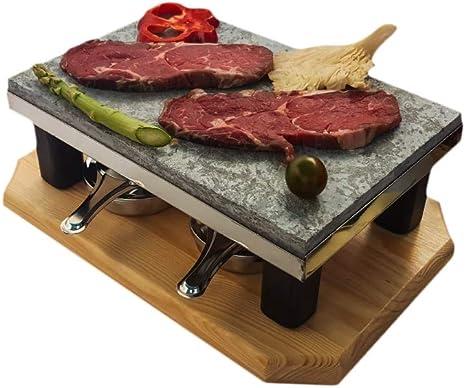 Piedra para Carne de 20x30 con Dos quemadores de Alcohol Modelo Deluxe Bicolor