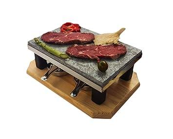 Modelo Deluxe Bicolor con Piedra volcánica para Asar Carne a la Piedra de 20x30