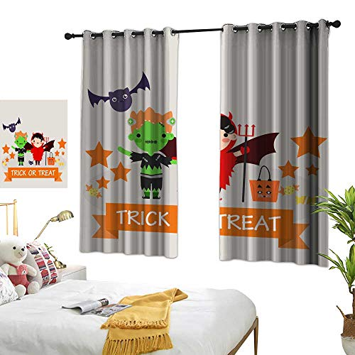 wwwhsl Cloth Curtain Halloween Background with Lovely Costumes Room Decoration Ideas W62.9 xL72