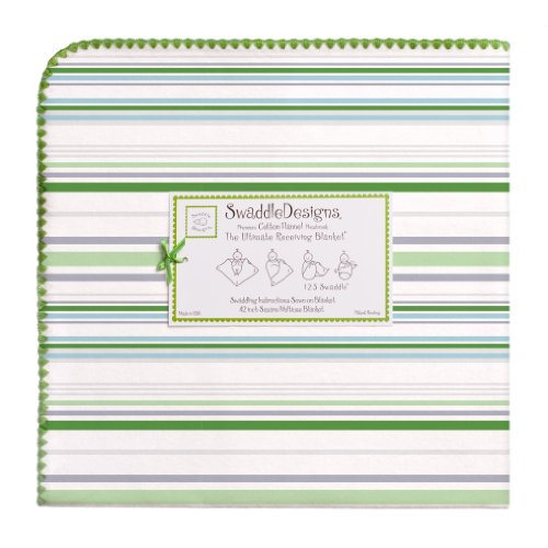 SwaddleDesigns Ultimate Swaddle, X-Large Receiving Blanket, Made in USA Premium Cotton Flannel, Jewel Tone Stripes, Pure Green (Mom's Choice Award Winner)