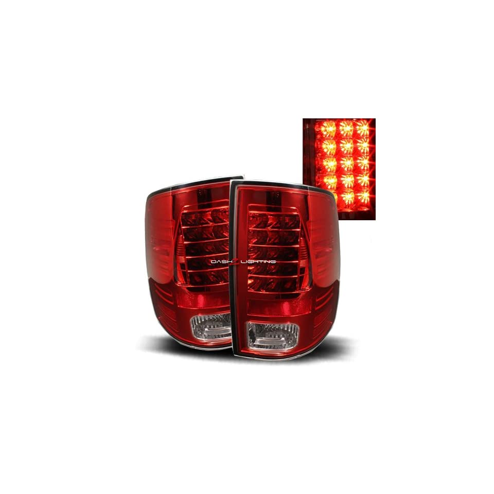 09 10 Dodge Ram 1500 LED Tail Lights   Red Clear
