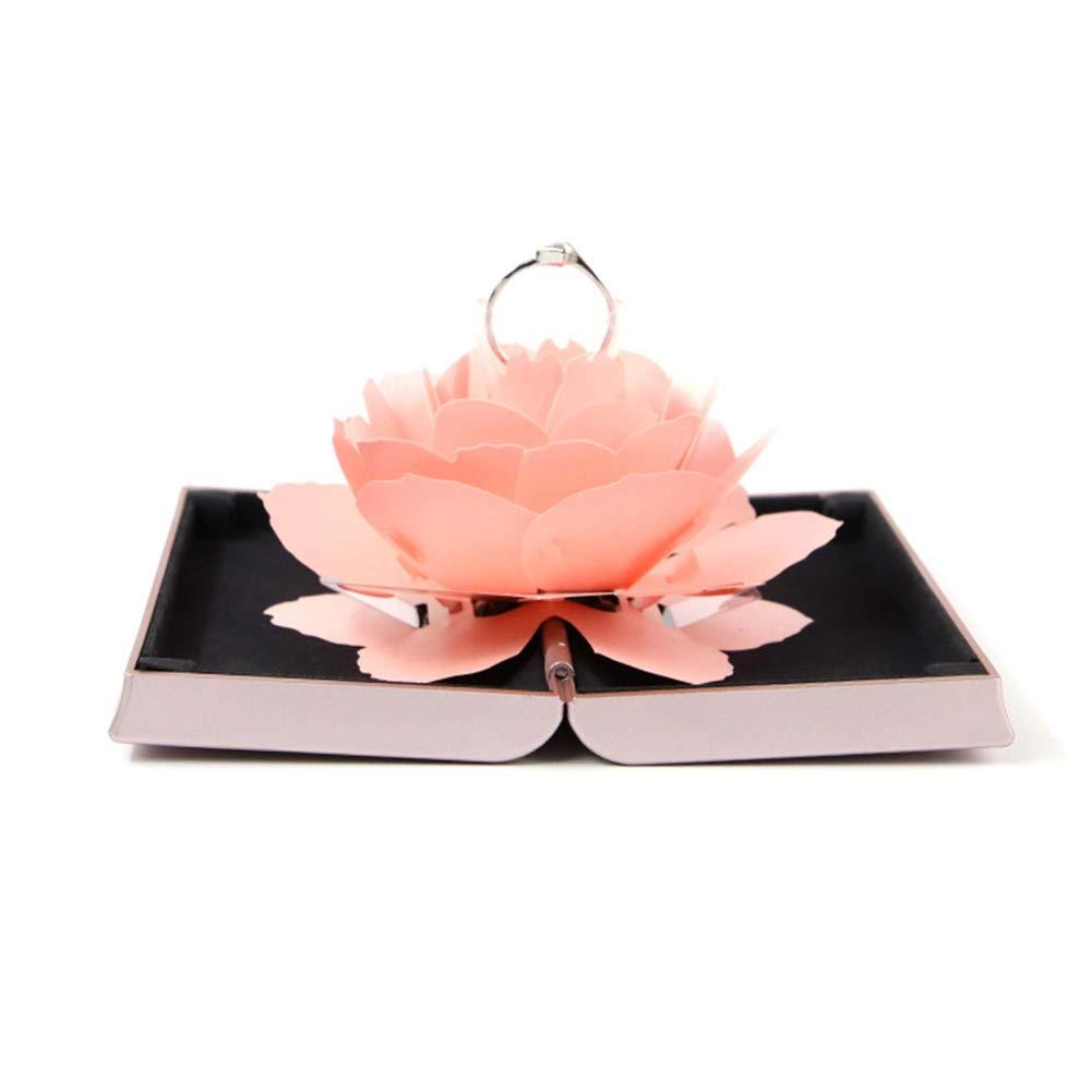 Homeofying Bo/îte /à bagues de fian/çailles personnalisable vintage style campagne romantique unique Pop Up Rose