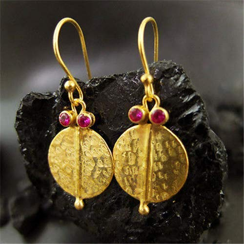 Ancient Design Jewelry Handmade Hammered Coin Ruby Earring 22K Gold Over 925K Sterling Silver ()