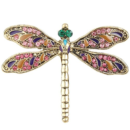EVER FAITH Austrian Crystal Enamel Vintage Inspired Dragonfly Insect Animal Brooch Pin Pink Gold-Tone