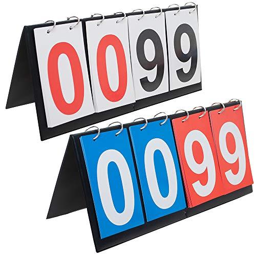 GOGO 4-Digital Portable Tabletop Score Flipper, Sport Scoreboard, 00-99-White Card + Blue & Red Card (College Sports Scoreboard)