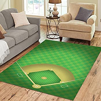 InterestPrint Baseball Field Area Rugs Carpet 7 X 5 Feet Sport Ground Modern