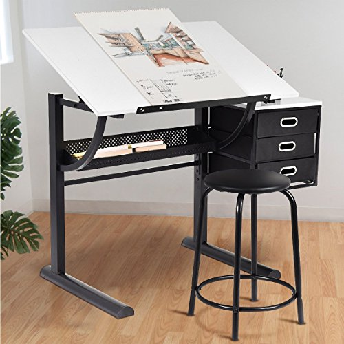 Tangkula Drafting Table Art & Craft Drawing Desk Art Hobby Folding Adjustable w/Stool and Drawers Craft Station (White with 3 Drawers) ()