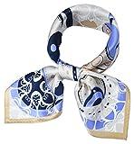corciova Women 100% Mulberry Silk Neck Scarf Small Square Scarves Neckerchiefs Platinum Baby Blue Eyes Bags Design
