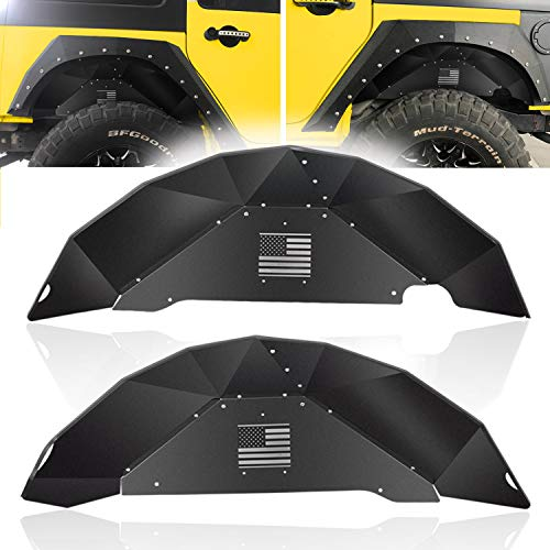 (Opall Rear Inner Fender Liners Fit Jeep Wrangler for 2007-2018 2 Door & 4 Door Jeep Wrangler JK 4WD US Flag Logo Lightweight Aluminum Design Black)