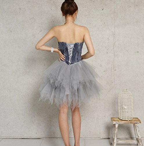 with Womens Gray Feather Sweetheart Party Dress Cocktail Sleeveless Tulle BessWedding vAqFnzA