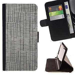 - Grey Wood Imitation Gray - Estilo PU billetera de cuero del soporte del tir???¡¯????n [solapa de cierre] Cubierta- For Samsung Galaxy Note 4 IV £¨ Devil Case £©