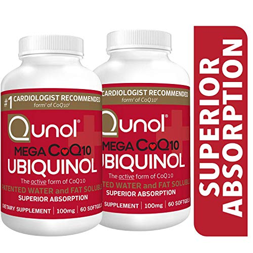 Qunol Mega Ubiquinol CoQ10 100mg, Superior Absorption, Patented Water and Fat Soluble Natural Supplement Form of Coenzyme Q10, Antioxidant for Heart Health, 60 Count, Pack of 2 ()