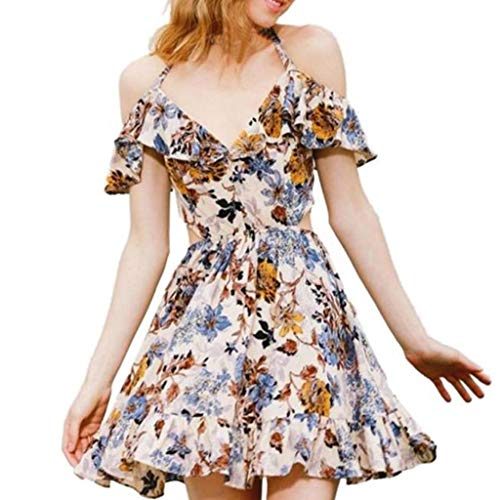Womens Summer Floral Dress Ladies Ruffles Cold Shoulder Sleeveless Outdoor Beach Cool Feel Soft Evening Party Dress Hot (Orange, XL)