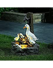 Resin Duck Water Fountain Statue,Solar Powered Garden Lights Squirrel Water Fountain Statue,Squirrel/Duck Pressure Water Outdoor Fountain Statue,Rustic Water Fountains Outdoor (A,Solar Energy)