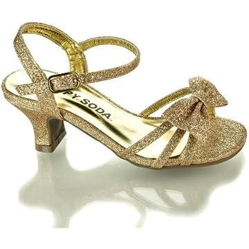 Soda Girls Girly-2 Metallic Glitter Open Toe Bow Slingback Small ...