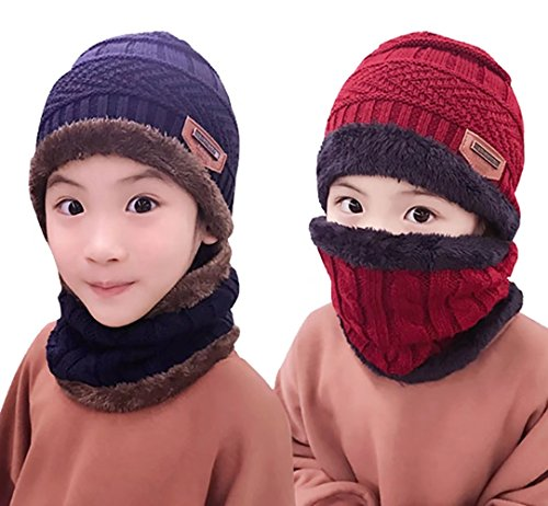 Kids Winter Knit Hats Beanie Circle Scarf Set Warm Windproof Thick Slouchy Skull Cap for Kids Boys Girls (3-12 Years)
