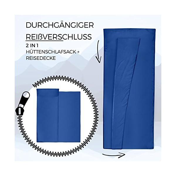 51WWCSBcH8L Miqio® 2in1 Hüttenschlafsack mit durchgängigem Reißverschluss (Links oder rechts): Leichter Komfort Reiseschlafsack und…