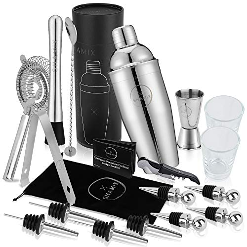 19-Piece Exclusive Cocktail Shaker Set and Bartender Kit With Tote, Shot Glasses, Cocktail Booklet - Home Bar Accessories Decor and Bar Set Includes 24oz Martini Shaker, Marked Jigger, Other Bar Tools