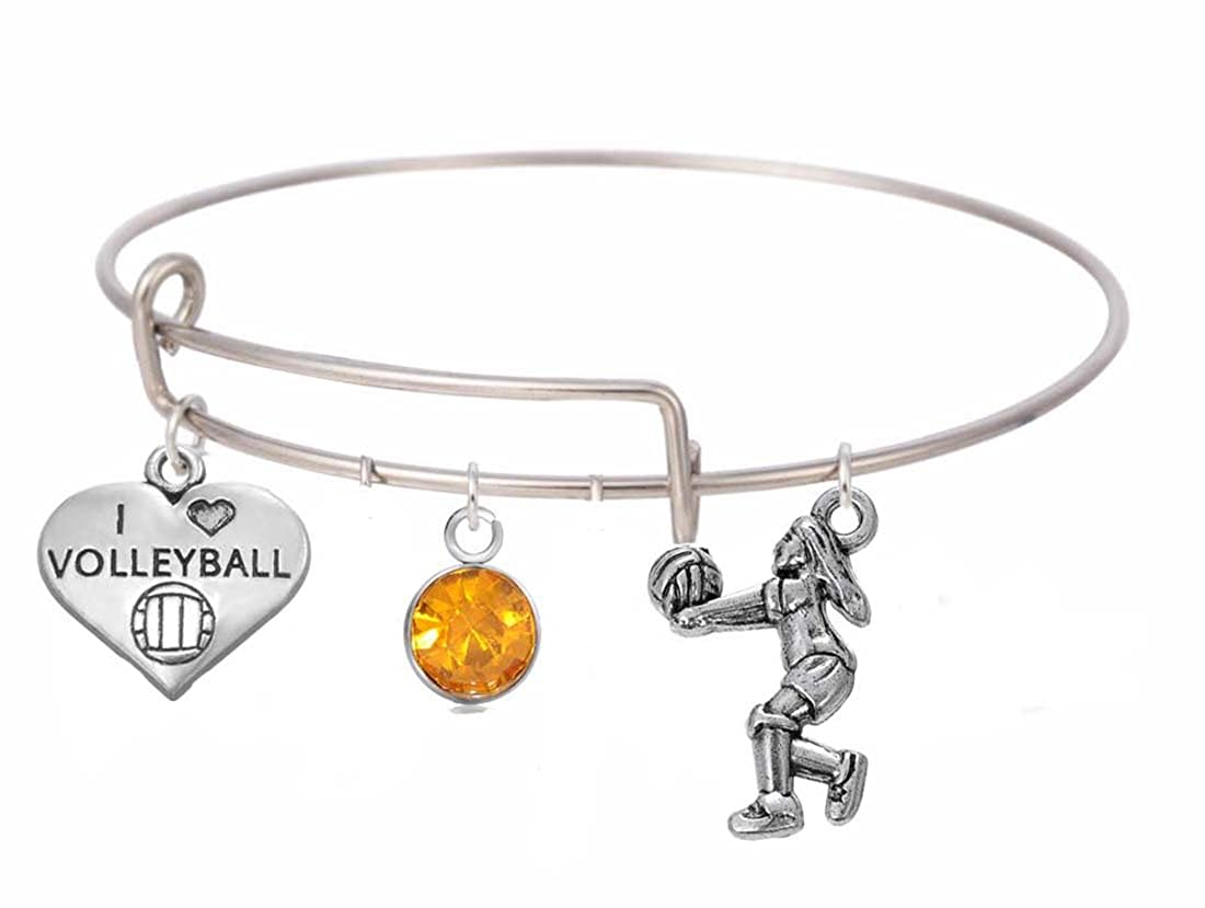 Stainless Steel Expandable Bangle Bracelet with Lovely Volleyball Charms and Birthstone Jewelry for Women/&Girls