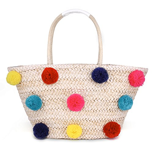 Women Straw Beach Bag Stylish Colorful Pompom Handbags Shoulder Bag Summer Holiday Woven Bag