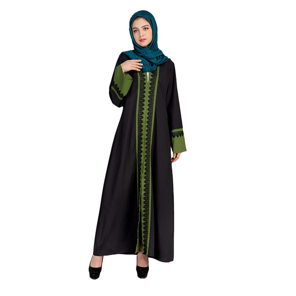 Women Loose Casual Fit Maxi Dress Ethnic Style Trumpet Sleeve O-neck Lace Stitching Embroidery Loose Shift Dress Ankle Length (L, Green)