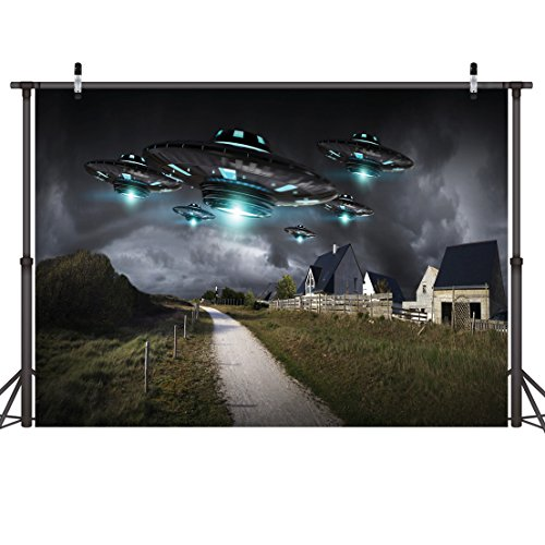 LYWYGG 10x8ft UFO Photography Background Alien Science Fiction Backdrop UFO Landed in The Town at Night Kids Boys Birthday Party Background Activity Photos Shooting Video Studio Props CP-39 -