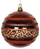 Vickerman Diva Safari Cheetah Print/Stripes Copper and Coffee Commercial Christmas Ball Ornament, 8''