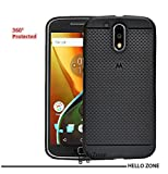 Hello Zone Exclusive Dotted Matte Finish Soft Back Case Cover For Moto G Plus, 4th Gen-Black