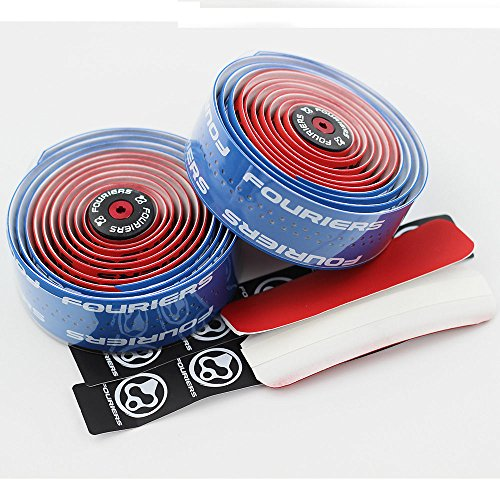 Fouriers PU Bike Dual Color Handlebar Tape Racing Wraps Handle Bar Grip Tape 3mm Red Blue Pink Black (blue&red)
