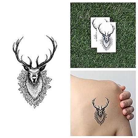 Tatuaje Temporal Tattify - Cabeza de venado - Junto al venado ...