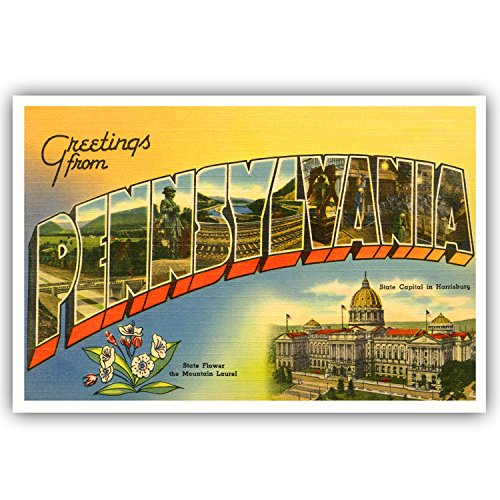 - GREETINGS FROM PENNSYLVANIA vintage reprint postcard set of 20 identical postcards. Large letter US state name post card pack (ca. 1930's-1940's). Made in USA.