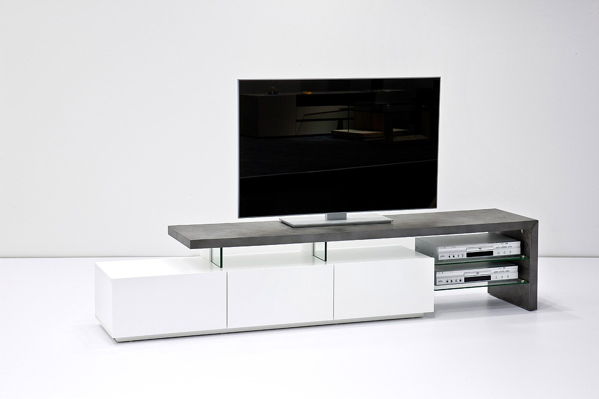 ANIMOS TV Stand – Large TV console white matt lacquered with Concrete Décor top panel – Stylish TV table with Concrete Décor finish for up to 90-inch flat TV screens – Mesa TV hasta 90 pulgadas