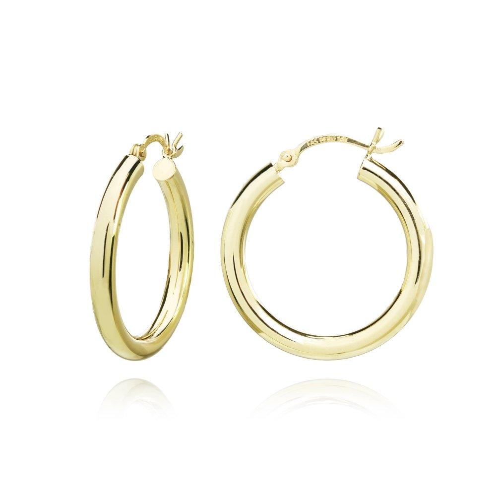 14K Gold High Polished 3x32mm Lightweight Medium Round Hoop Earrings