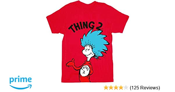 Amazon Dr Seuss Thing 1 Or 2 Adult Red T Shirt Clothing