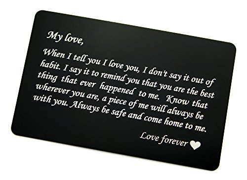 Custom Engraved Aluminum Wallet Card Insert-Personalized Gifts for Him/Her, Love Note, Anniversary, Medical Alert, Emergency Contact, Pets Home Alone, Memorial, Birthday, Luggage tag (BLACK)