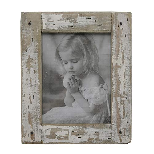kuip Design 5x7 Picture Frame Rustic Distressed Weathered Reclaimed Wood Cream Stand Easel Back Horizontally Vertically on The Tabletop Decor (Frame Farmhouse Wood Table)
