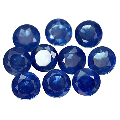 3.18CT LOVELY AA 10PCS ROUND THAILAND HEATED ONLY BLUE SAPPHIRE (Heated Round Blue Sapphire)