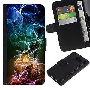 UNIQCASE - Samsung Galaxy S6 SM-G920 - Colorful Smoke Color Smoke - Cuero PU Delgado caso cubierta Shell Armor Funda Case Cover