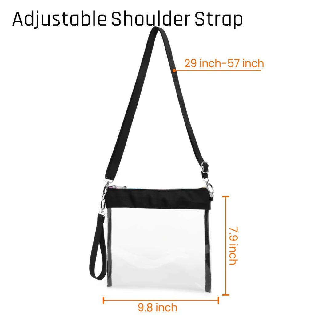 SPEEDEVE Clear Crossbody Purse Transparent Handbag,Black