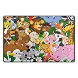 U LIFE Cute Kids Tropical Animal Forest Jungle World Map Large Doormats Area Rug Runner Floor Mat Carpet for Entrance Way Living Room Bedroom Kitchen Office 63 x 48 Inch