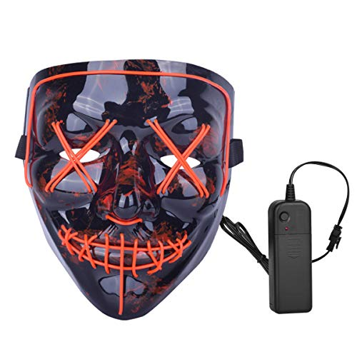 ZOY Scary LED Mask Halloween Costume Light up Mask Cosplay EL Wire Mask Glowing mask (red)