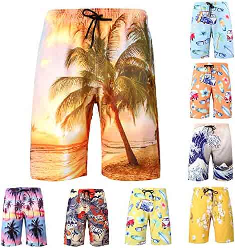 29d35d60d55 Rainbow25 Fashion Coconut Tree Print Men's Drawstring Beach Swimming Sport  Short Pants Briefs
