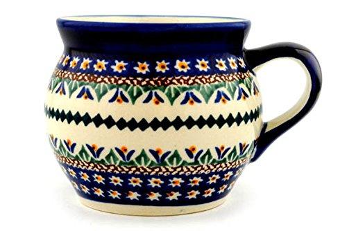 (Polish Pottery Bubble Mug 16 oz Floral Peacock UNIKAT)