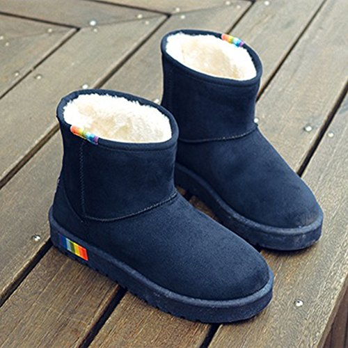Mid Flat Plush Cotton Boot Red Blue Brown Winter Lining Snow Fashion Boot Women's Calf Blue Black in I8Bxv4Iw