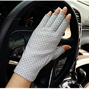 Girls Wedding Cotton Gloves Smartphone Dress Stretch Gloves UPF Sun Protective Glove One Size Grey
