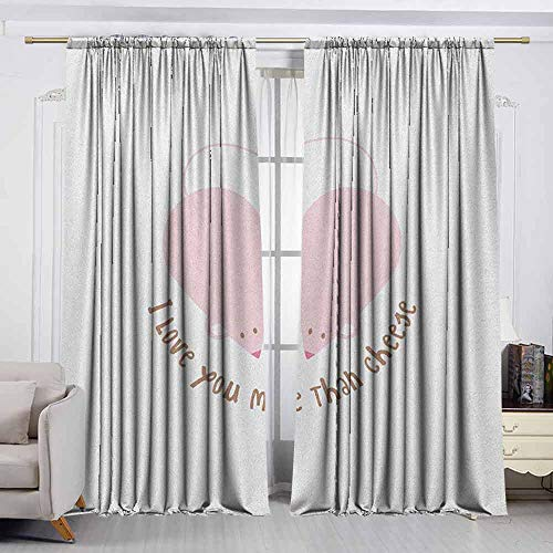 VIVIDX Decor Waterproof Curtains,I Love You More,Pink Rats with Tangled Tails Forming a Heart Sweet Valentines,Darkening and Thermal Insulating Draperies,W63x63L Inches Pale Pink Cocoa Yellow
